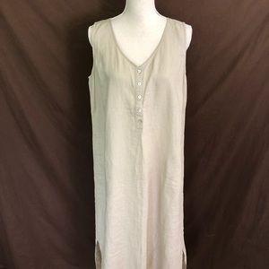 J. Jill Love Linen 100% Linen Tan Maxi Dress M